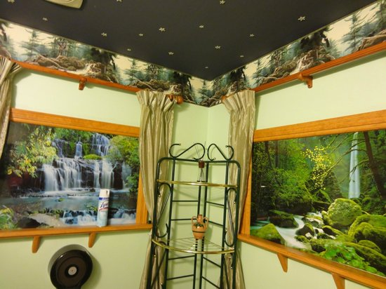 Casa del Sol Restaurant :                   Rainforest-themed toilet complete with birds chirping