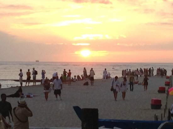 Outrigger Waikiki Beach Resort:                   sunset from hotel beach area