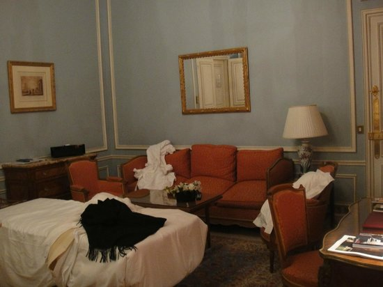 Hotel de Crillon:                   The salon area of the Forfait suite, good size and well appointed