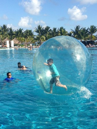 Mayan Palace Riviera Maya: Our son trying his luck in the Bubble