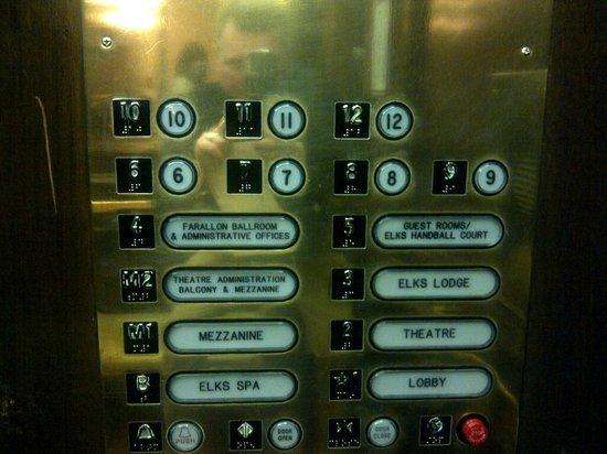 The Kensington Park Hotel:                   Elevator panel