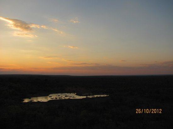 Victoria Falls Safari Lodge:                   Sunset over the billabong
