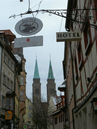 Hotel Elch: View from the front of the hotel towards the Altstadt/St Sebald
