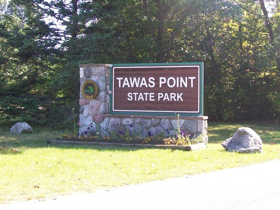 Tawas Point State Park: entrance sign