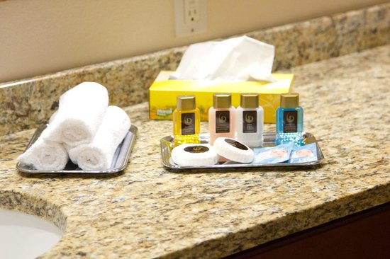 Grande Villas Resort:                   Free bathroom equipment -- shampoo, conditioner, lotion, shower gel