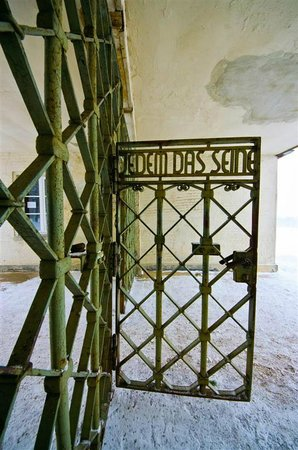 Buchenwald: Gate - notice that the words are meant to be read from inside the camp