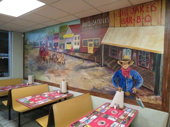 Big Jake's Smokehouse:                   Western mural