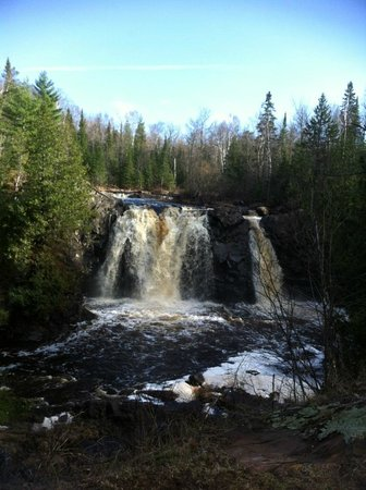 Pattison State Park : Little Manitou Falls. About 1.5 miles there, along river, rugged trail. Gorgeous scenery.