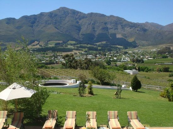 Ashbourne House Guest House:                   Franschhoek town from one of the many fine restuarants.