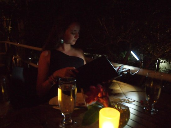 Ginger :                   It was a little dark in reading the menu, but they give you a little light