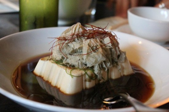 Billy Kwong: Steamed Silken tofu with ginger, Shaved Kombu, Chilli, Shiro Shoyu and bio-dynamic sesame oil
