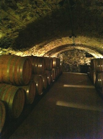Wollersheim Winery & Distillery: Winery tour: Underground barrel room.