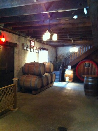 Wollersheim Winery & Distillery: Winery tour: Underground storage of oak barrels for aging.