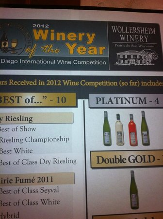 Wollersheim Winery & Distillery: The world of wine stood up and took notice of Wisconsin in 2012!