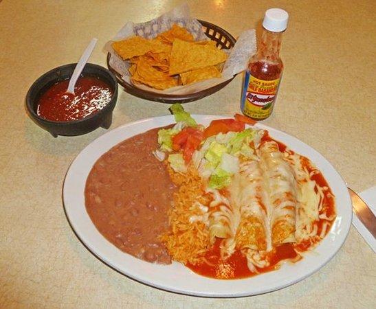 Rosita's Mexican Restaurant:                   beef enchiladas, rice, salad, beans, chips and salsa