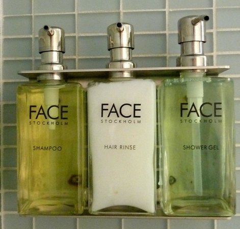 Hotel Andra:                   Face products in the bathroom...with a walk in shower