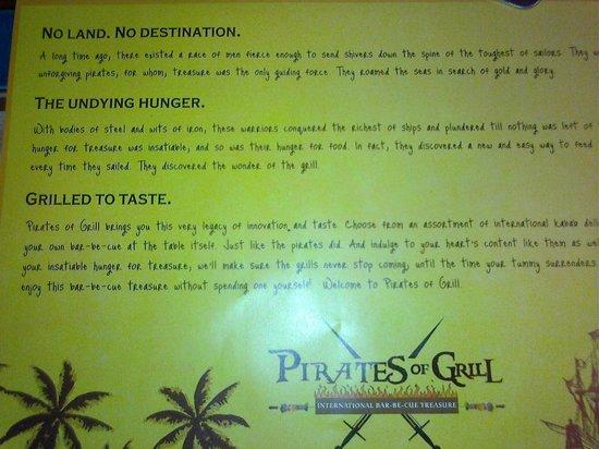 Found in the menu.... - Picture of Pirates of Grill, New Delhi ...