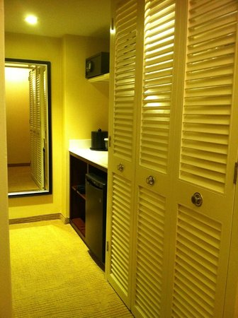 Montreal Marriott Chateau Champlain: Closet hallway to bathroom on left of photo