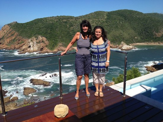 Head Over Hills:                   Sara & Martine from pool area with Knysna Heads in Background