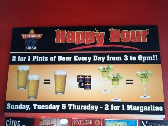 El Tequila Salsa Restaurant & Bar:                                     Happy Hour