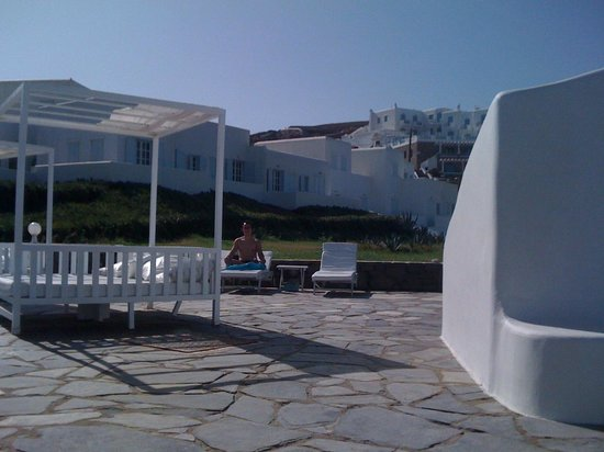 Mykonos Bay Hotel:                   Relaxation time by the swimming pool