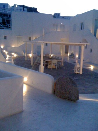Mykonos Bay Hotel:                   Hotel Patio and the night time