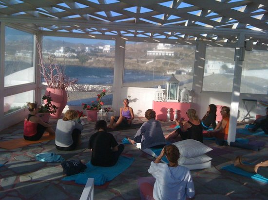 Mykonos Bay Hotel:                   Yoga lesson in front of the beach