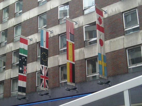 Royal National Hotel:                   Flags outside the hotel