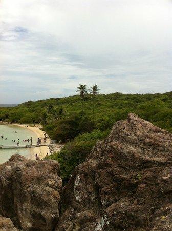 Chez Gracieuse : la plage avec le ponton on l'on arrive et ou Gracieuse vous livre votre repas