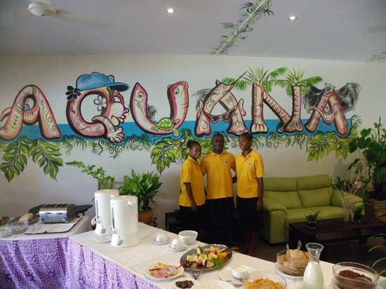 Aquana Beach Resort:                   Restaurant staff in dining area