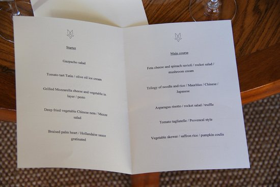 Maradiva Villas Resort and Spa:                   Menu of extra vegetarian starters, main courses and deserts the chef created j