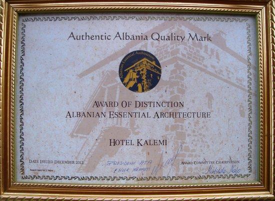 Hotel Kalemi: Spetial Award.