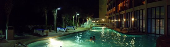 Monterey Bay Suites:                   Pool outside at night