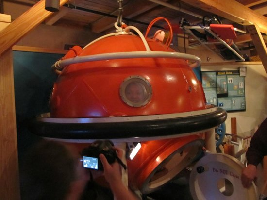 North Carolina Maritime Museum:                   A friend inside the dive ball