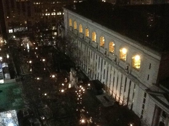The Bryant Park Hotel: View of NYC Library from Room 1707 Sitting / Dining Room