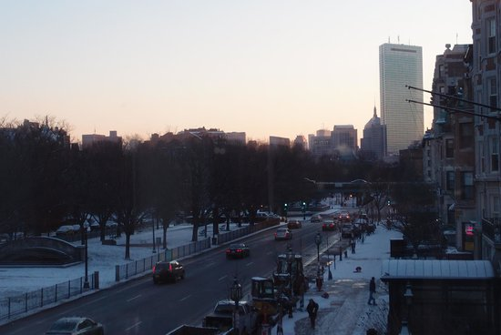 Looking east on Comm Ave. from the Hotel Commonwealth. Reminded me of a Childe Hassam.