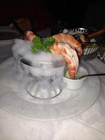 Mastro's City Hall:                   Shrimp Cocktail on dry ice