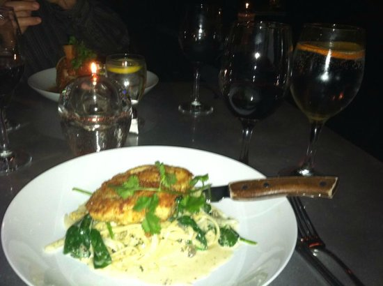 Martini's Chophouse: Organic Chicken Breast over Asiago Alfredo with wilted Spinach