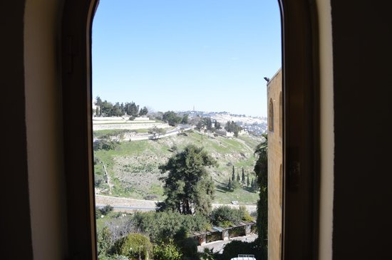 Mount Zion Hotel:                   View of Mount Zion from hotel hallway window