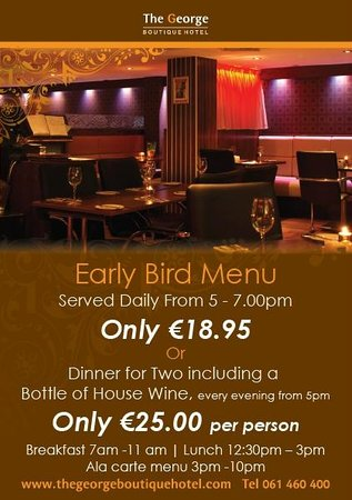 The George Limerick: Early Bird & Dinner for 2 Offer at The George Boutique Hotel