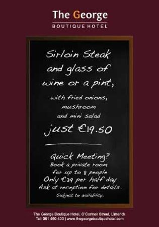 ‪ذا جورج بوتيك هوتل: Steak & a pint for €19.50 at The George Boutique Hotel, Limerick City‬
