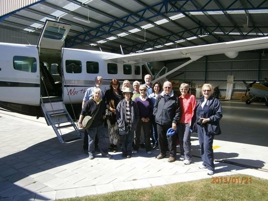 "Air Milford: MoaTrek ""Big Moa Tour Group"" following their flight back from Milford Sound Jan 2013"