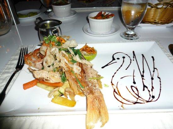 Floris Suite Hotel - Spa & Beach Club:                   Whole fried snapper at Sjalotte restaurant at Floris Suite Hotel