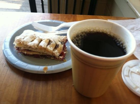 Helmut's Strudel: cherry strudel and Downeast coffee