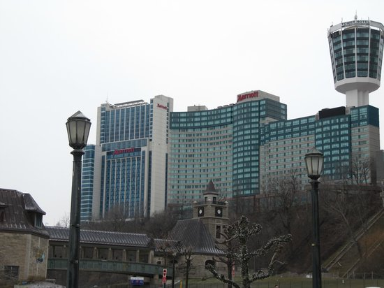 Niagara Falls Marriott Fallsview Hotel & Spa:                   Looking back at Hotel from the Falls