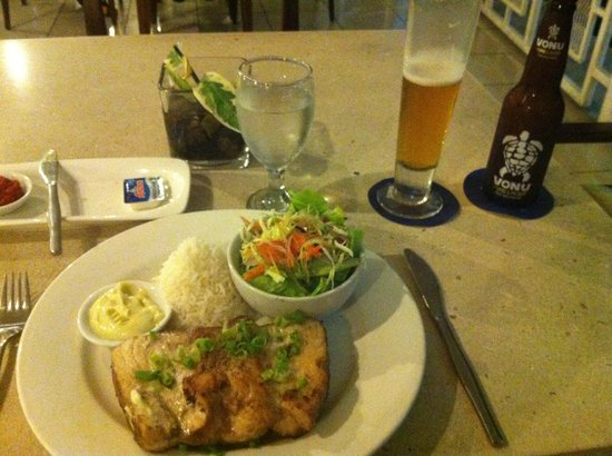Novotel Suva Lami Bay :                   Huge Tuna Steak, tastes like dry weetbix.. =[