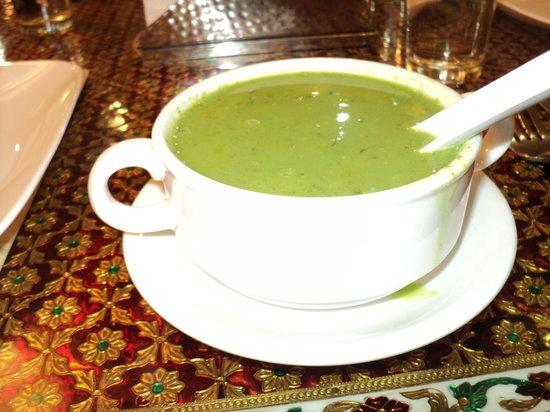 Maharaja Palace: Enjoying some Palak Shorba (Cream of Spinach soup)
