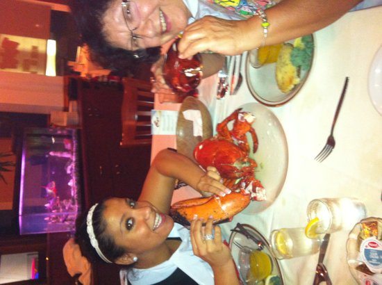 The Bowery Dugout: Mom and sharing a big boy Lobster.