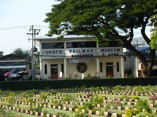 The Thailand-Burma Railway Centre : the museum with the war cemetery in the foreground