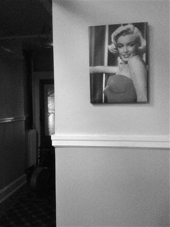 Columbia Hotel: Ms. Monroe at the top of main stairwell...
